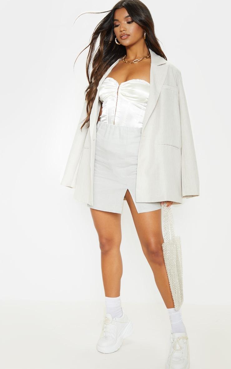 Grey Linen Feel Split Front Mini Skirt 5