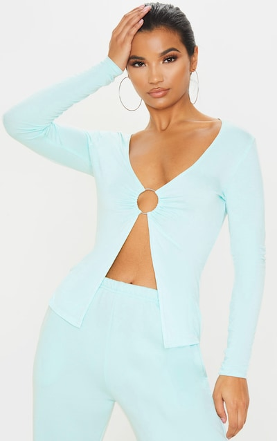 Mint Ring Detail Long Sleeve Top