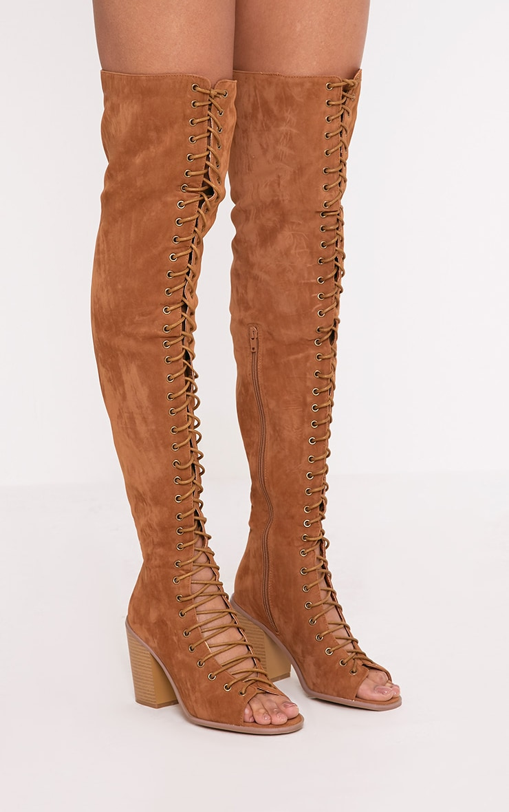 Edena Tan Thigh High Lace Up Boots 1