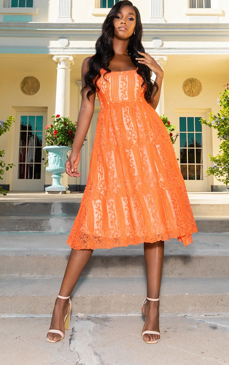 Orange Lace Square Neck Midi Dress