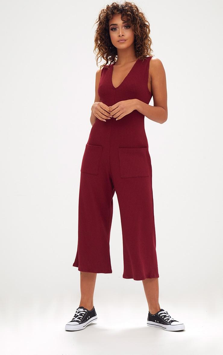Burgundy Ribbed Culotte Pocket Jumpsuit 1
