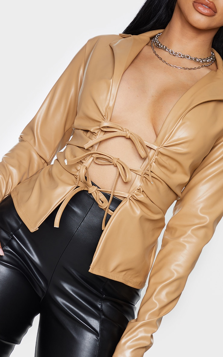 Shape Stone Faux Leather Collar Tie Front Top 5