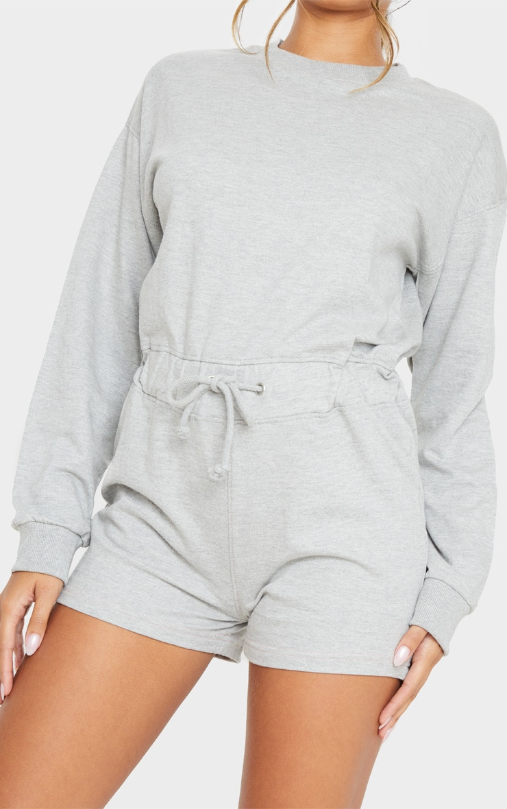 Grey Sweat Long Sleeve Contrast Stitch Playsuit 5