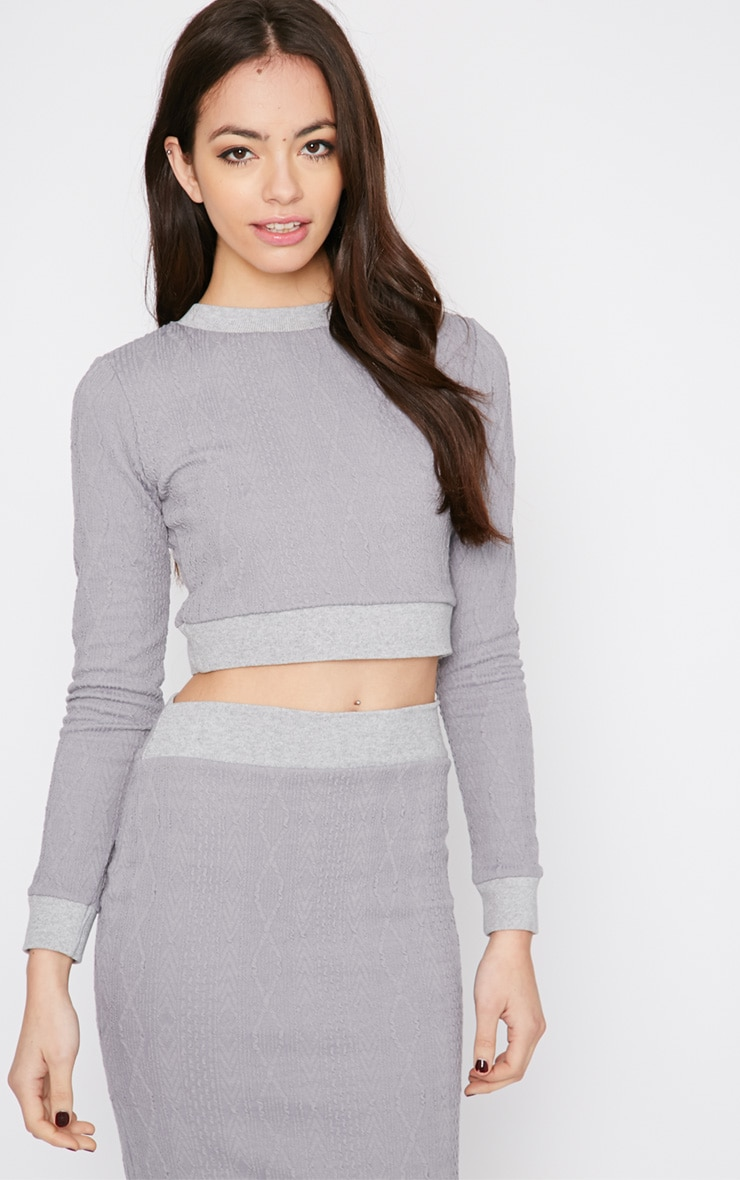 Deni Grey Cable Knit Crop Jumper  1