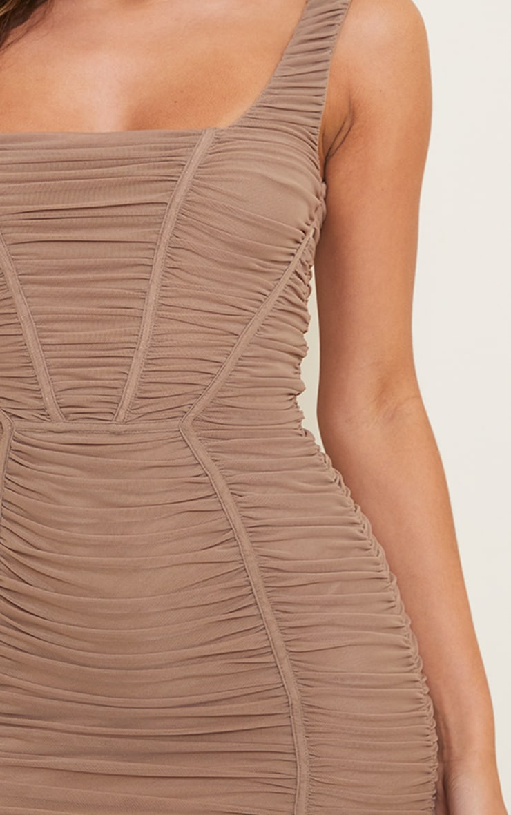 Taupe Square Neck Mesh Ruched Binding Detail Bodycon Dress 4