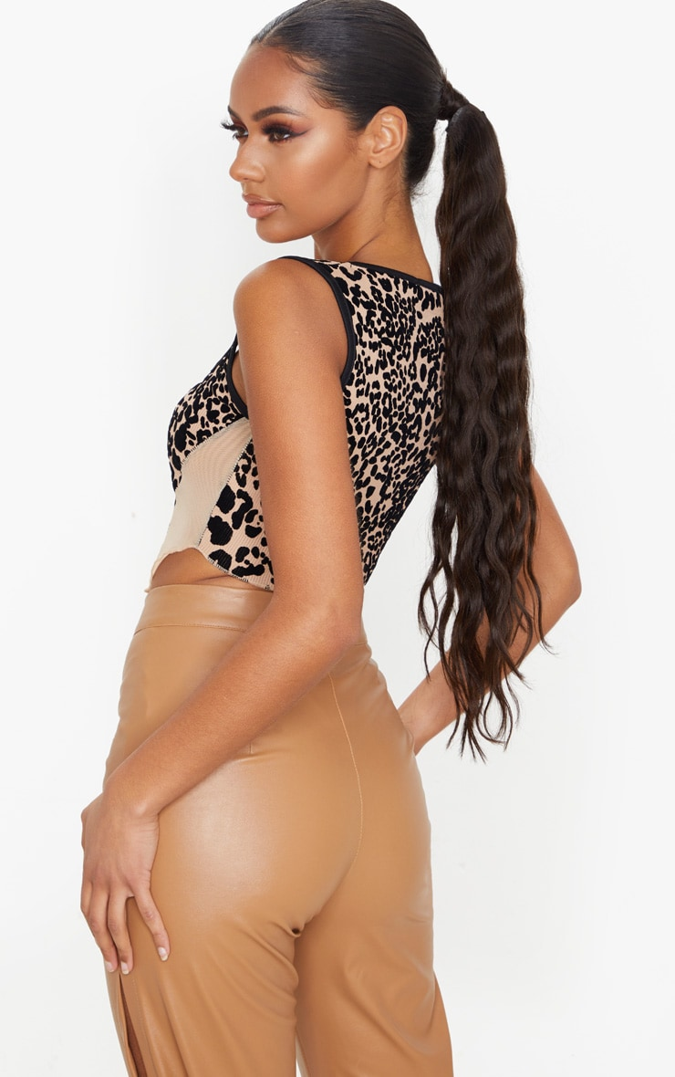 Nude Rib Leopard Flocking Curved Hem Crop Top 3