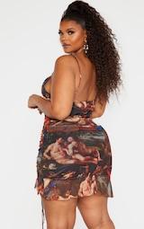 Plus Multi Renaissance Print Ruched Bodycon Dress 2