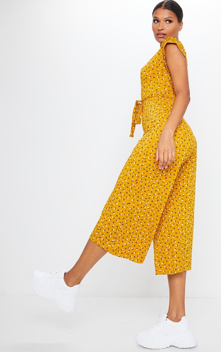 Mustard Ditsy Floral Wrap Culotte Jumpsuit 3