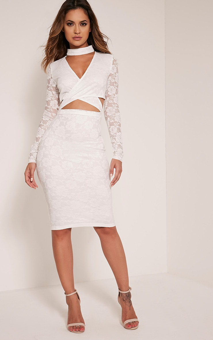 Emely White Neck Detail Cut Out Lace Midi Dress 1