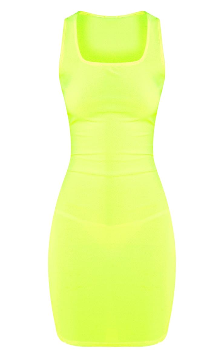 Neon Yellow Square Neck Bodycon Dress 3