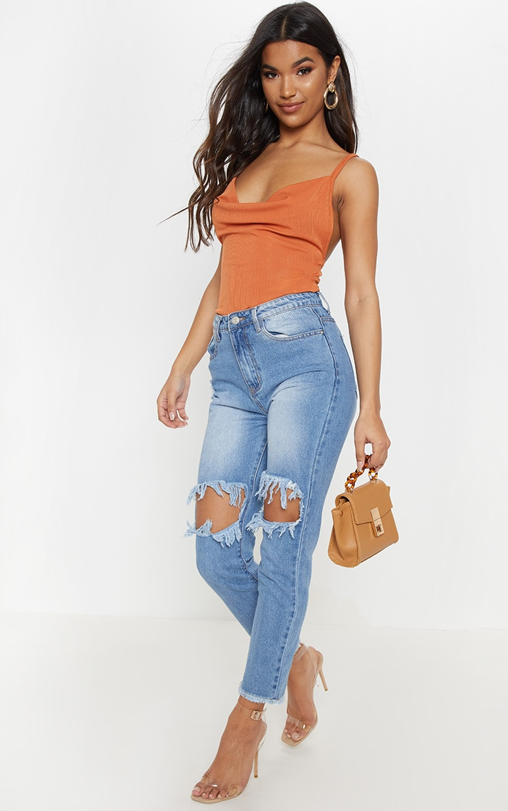 Burnt Orange Rib Cowl Neck Bodysuit 5