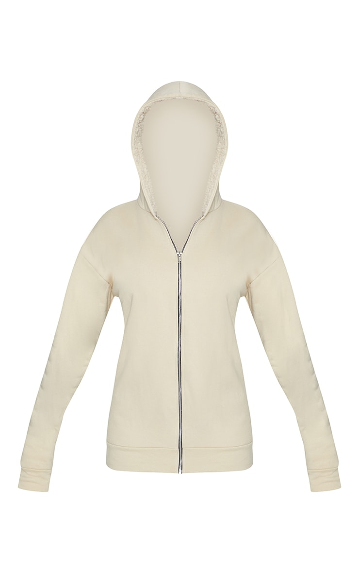 Cream Oversized Borg Lined Zip Up Hoodie 4