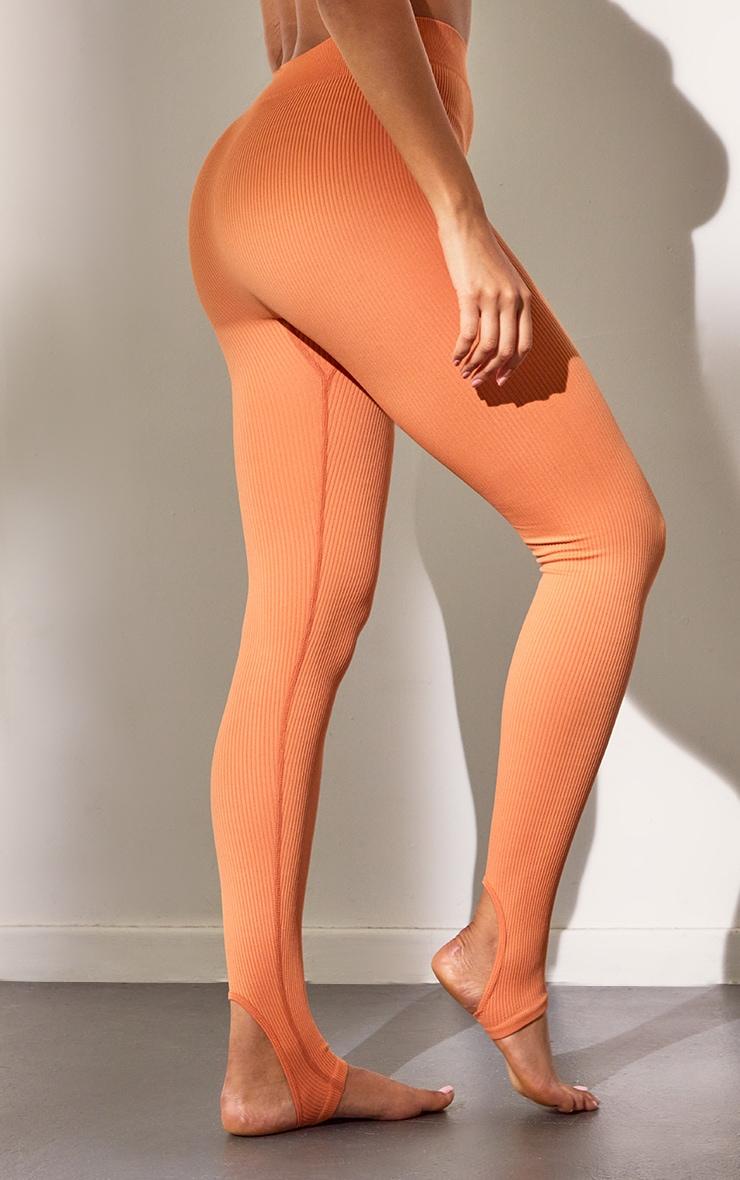 Burnt Orange Structured Contour Rib Stirrup Leggings 3