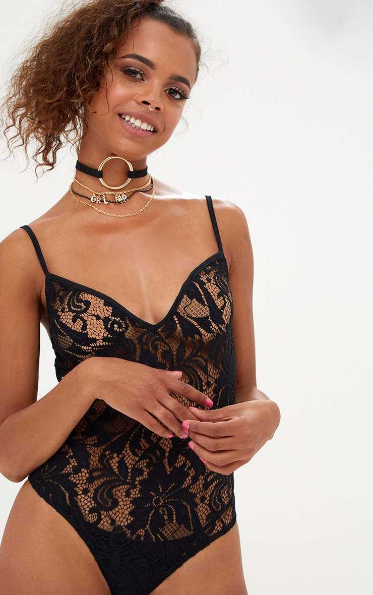 Petite Black Strappy Sheer Lace Bodysuit 1