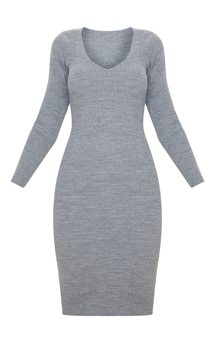Grey V Neck Knitted Midi Dress 3