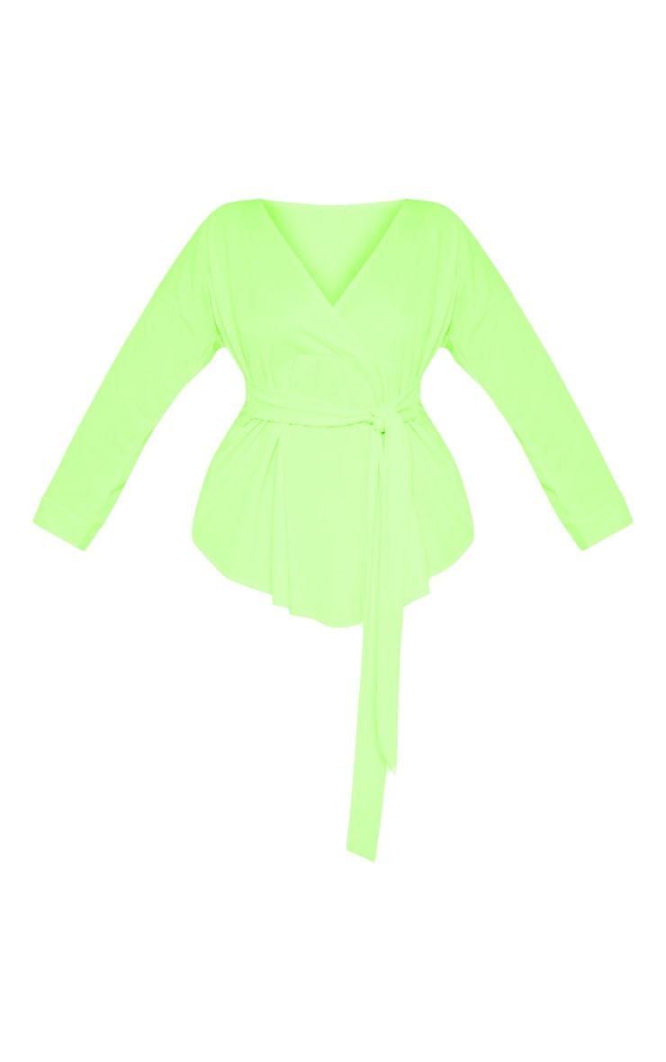 Plus Neon Lime Tie Waist Blouse 3