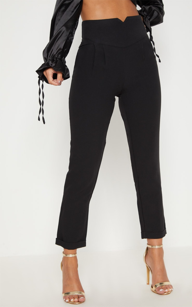 Petite Black High Waisted Tapered Trousers 2