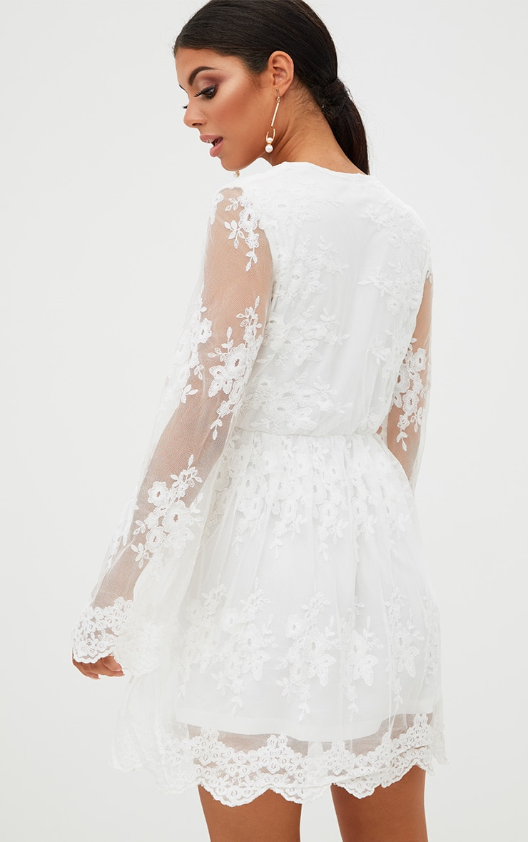 White Lace Plunge Bell Sleeve Skater Dress  2