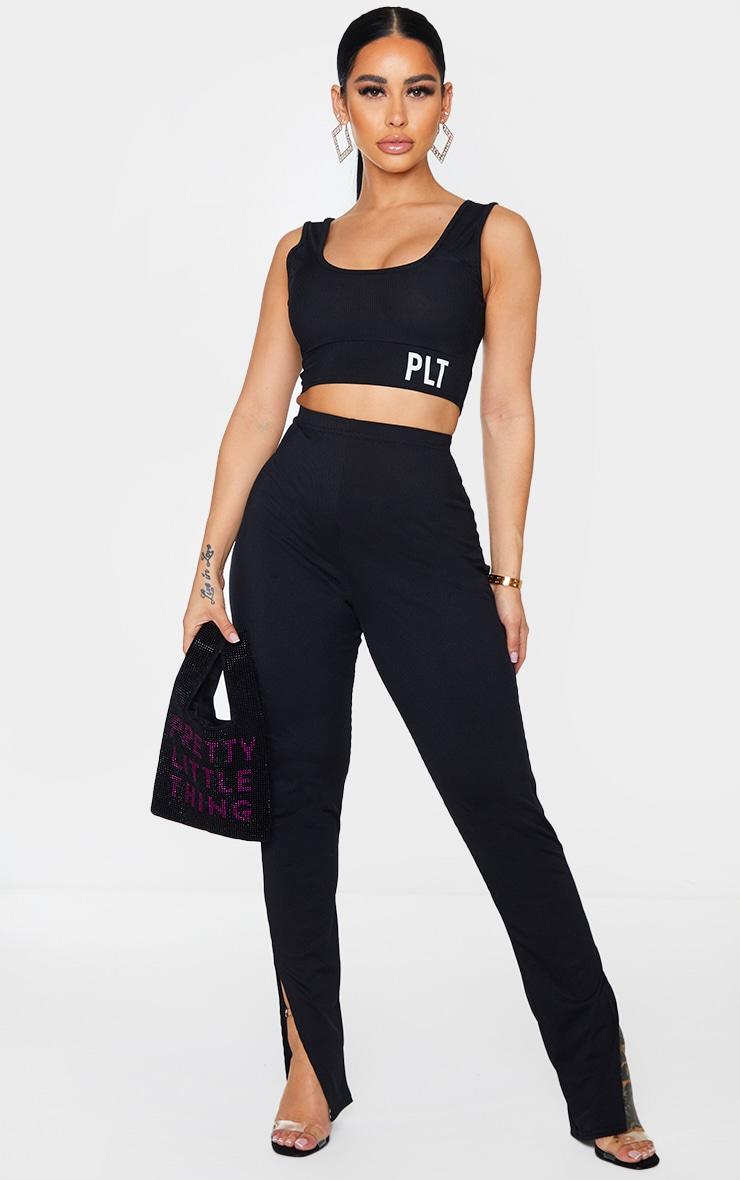 Shape Black Rib High Waist Split Hem Trousers 1