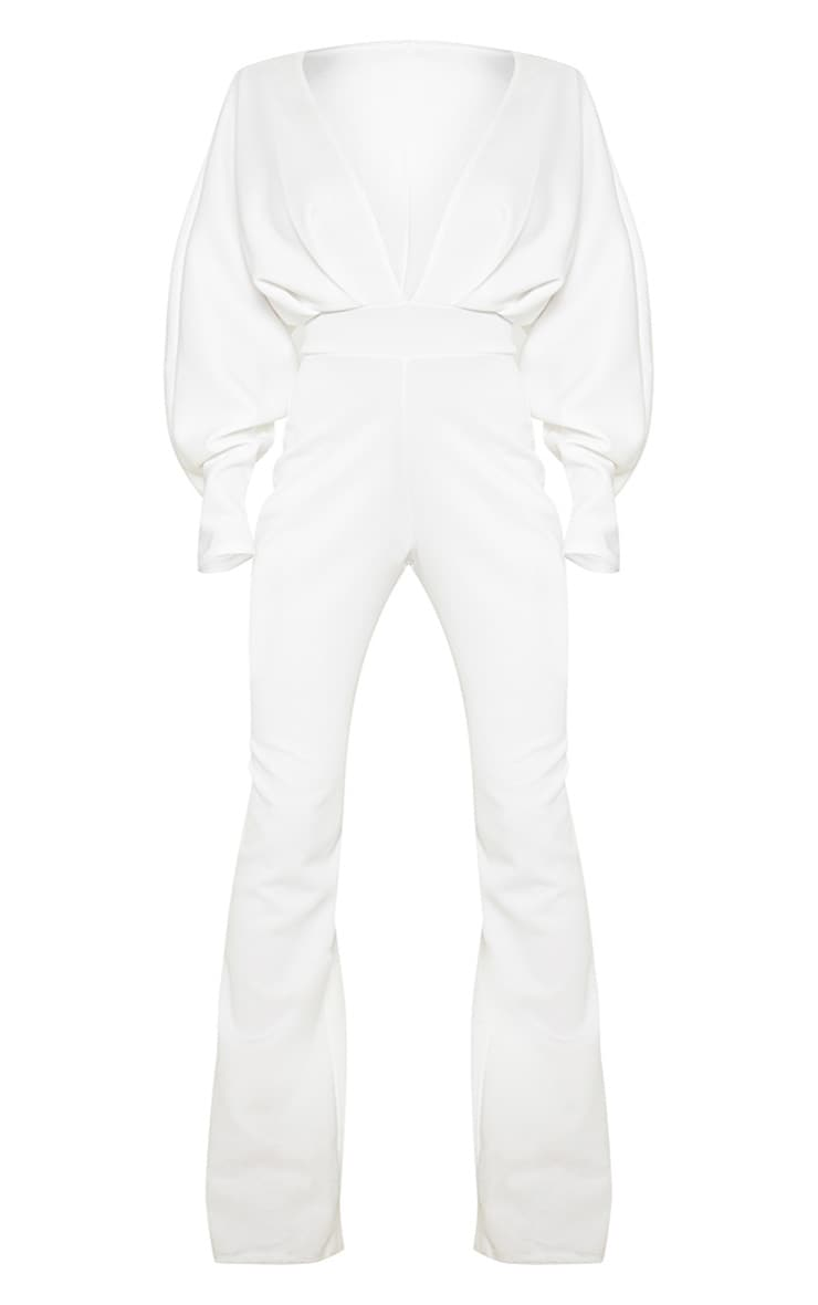 Plus White Pleated Balloon Sleeve Jumpsuit 3
