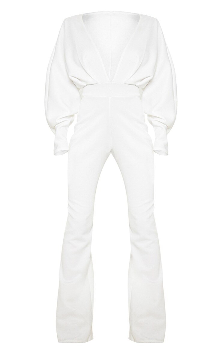Plus White Pleated Balloon Sleeve Jumpsuit 4