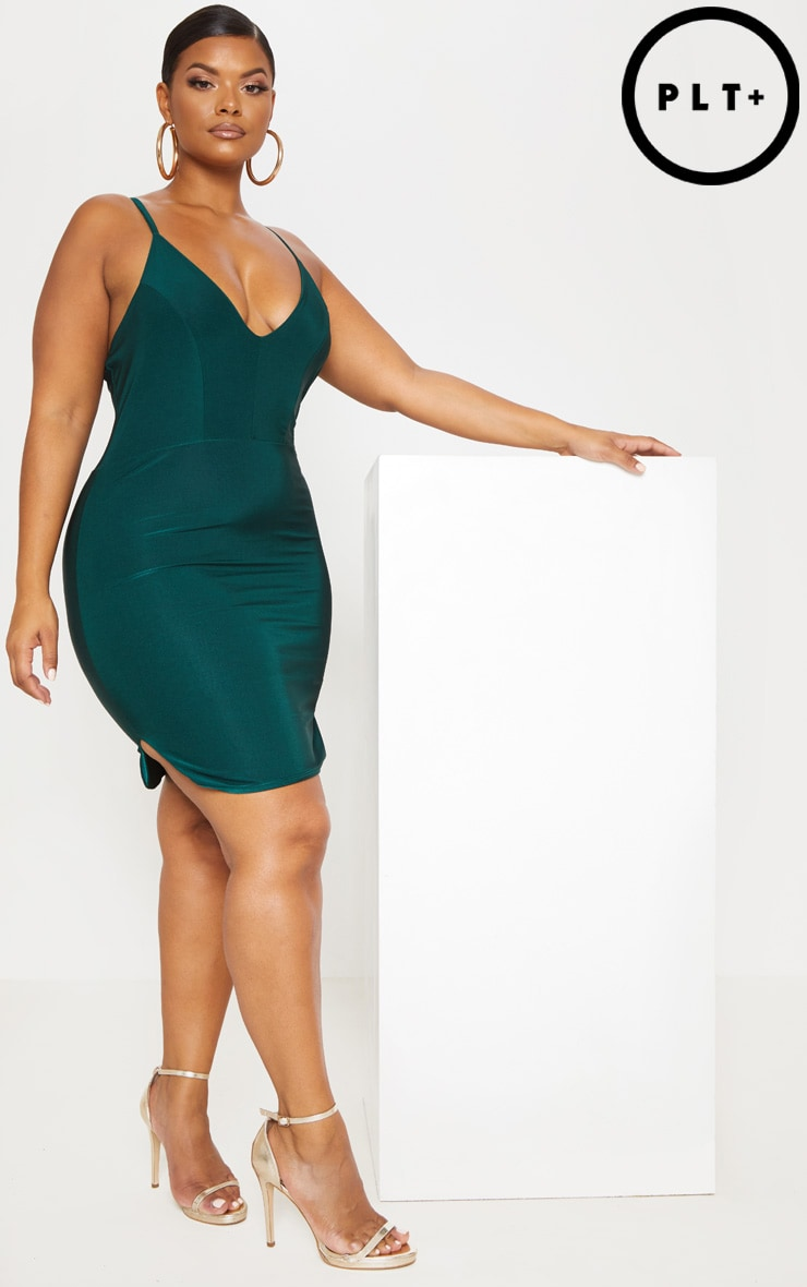 Plus Emerald Green Slinky Plunge Strappy Bodycon Dress
