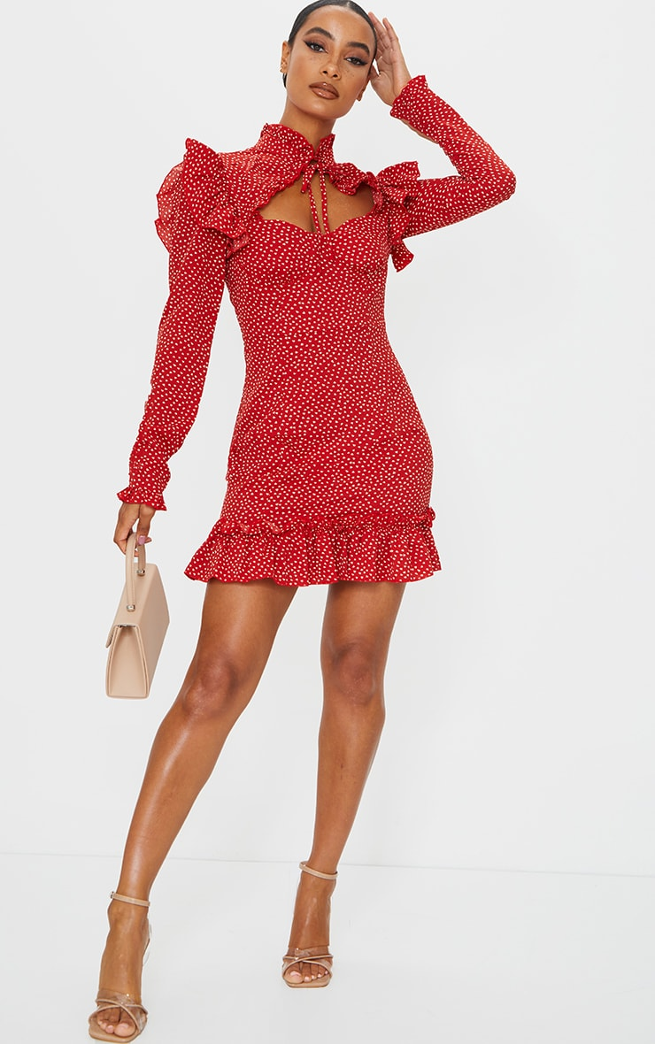 Red Heart Print Cup Frill Detail Bodycon Dress 3