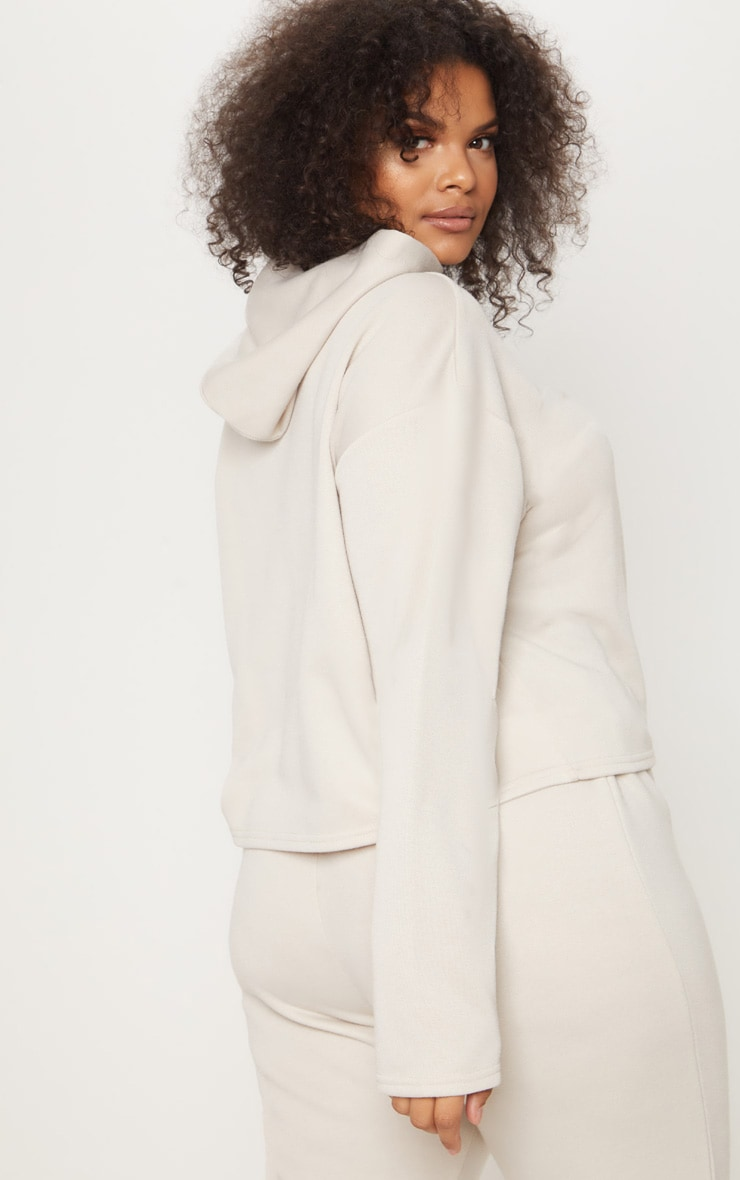 Plus Stone Oversized Cropped Hoodie 2