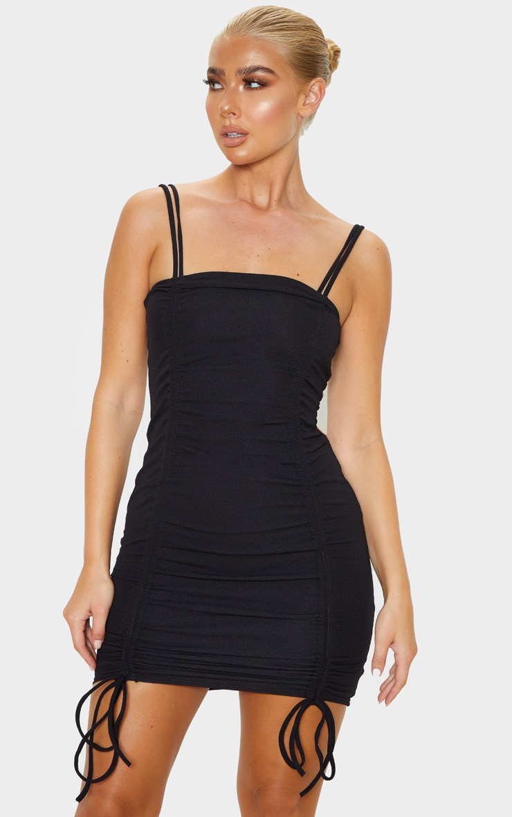 Black Ruched Front Strappy Bodycon Dress Prettylittlething