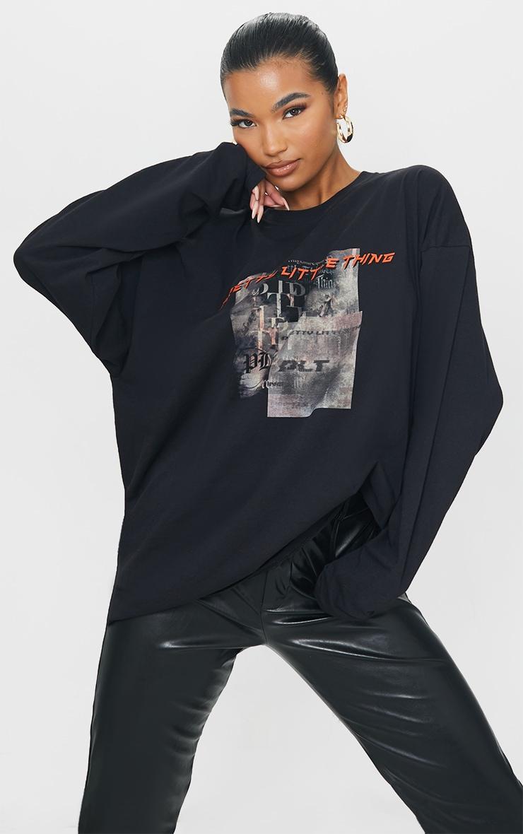 PRETTYLITTLETHING Black Burnout Print Long Sleeve T Shirt 1