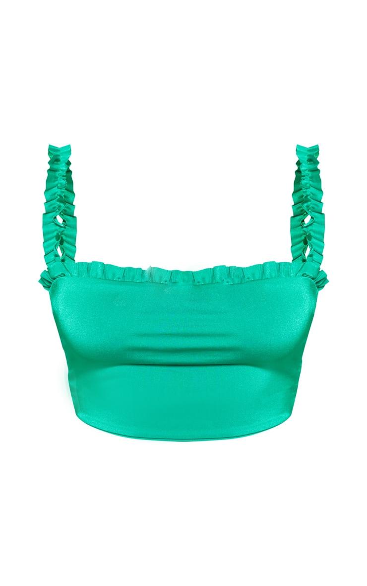 Plus Bright Green Frill Strap Ruched Detail Bikini Top  3