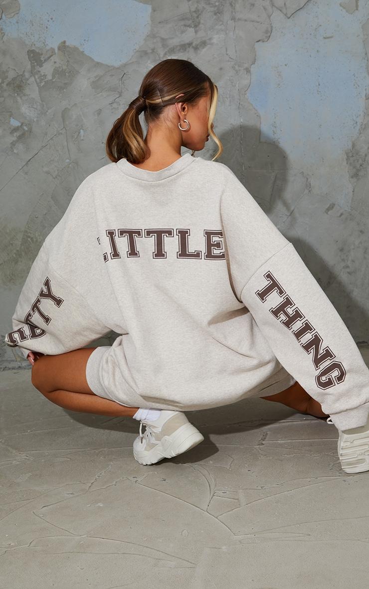 PRETTYLITTLETHING Oatmeal Slogan Oversized Sweat Jumper Dress 1