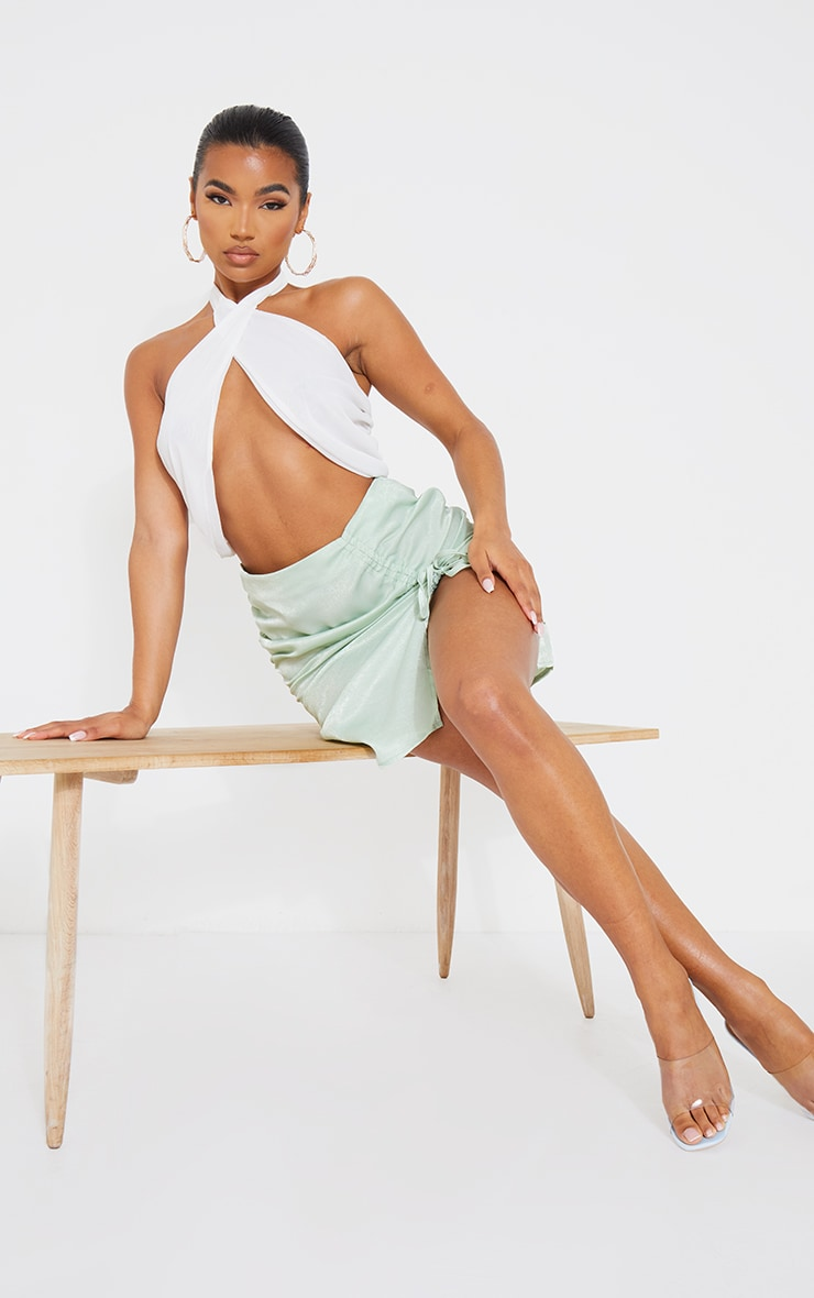 Mint Green Satin Double Ruched Front Mini Skirt 1