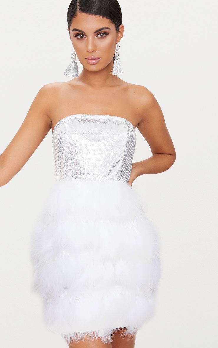 Silver Bandeau Sequin Feather Trim Bodycon Dress 2
