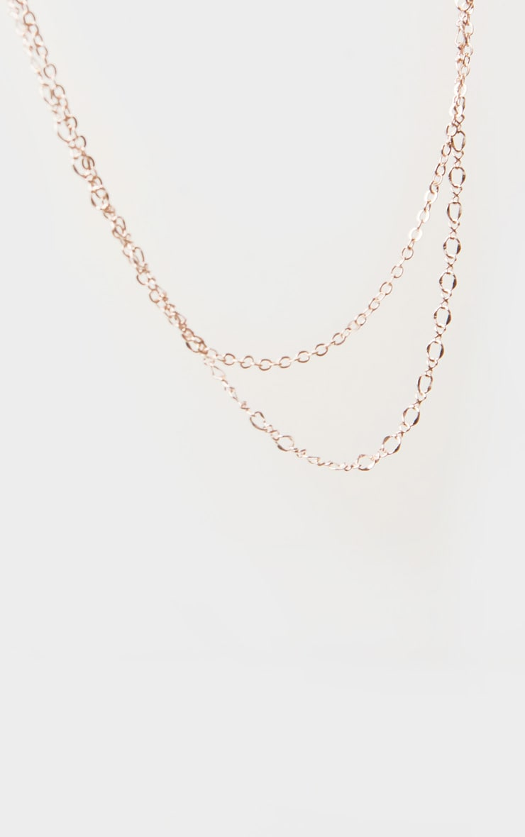 Rose Gold Delicate Double Chain Necklace 3