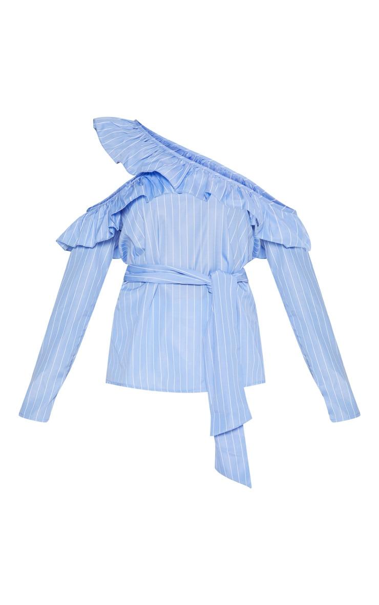 Blue Pinstripe Frill Detail Cold Shoulder Shirt  3
