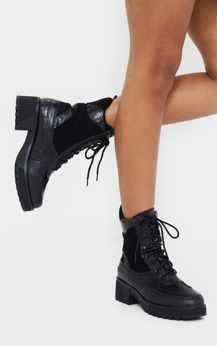 Black PU Lace Up Hiker Boots 1