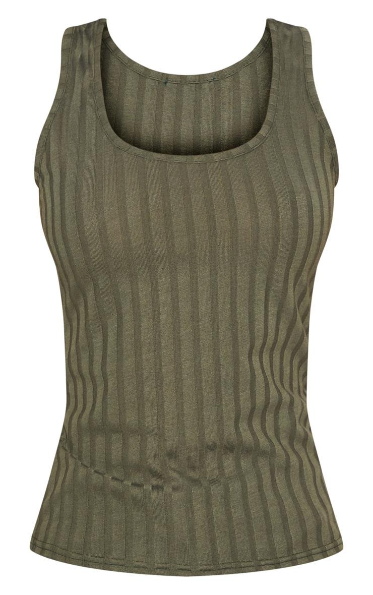 Khaki Rib Scoop Neck Tank Top 3