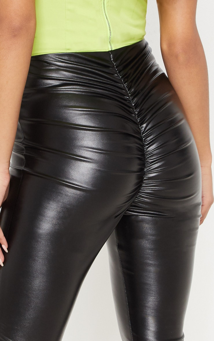 Black Faux Leather Ruched Bum Legging 5