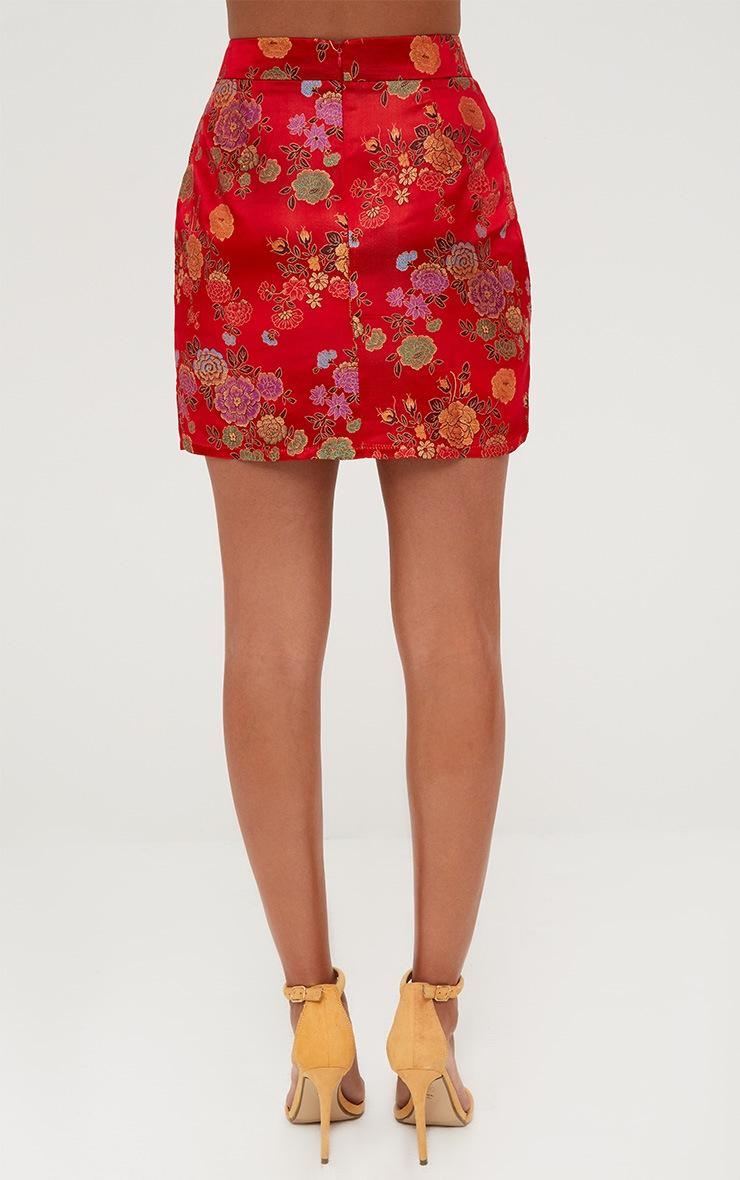 Red Oriental Jacquard Split Mini Skirt 4