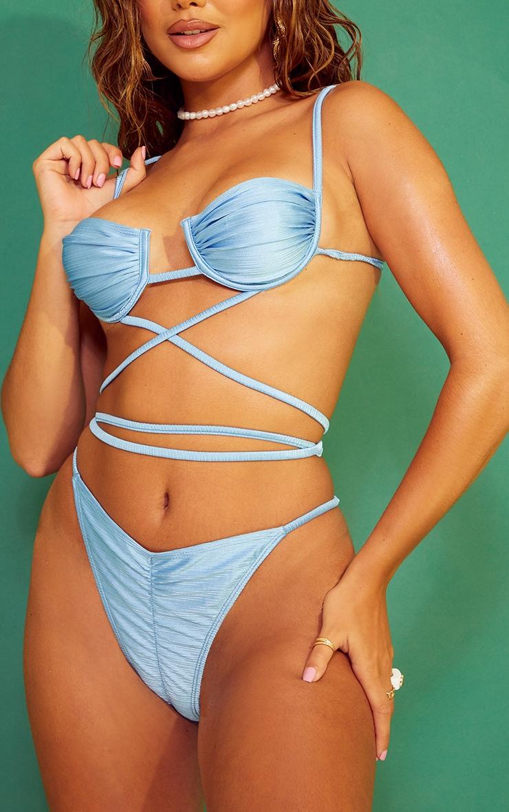 Blue Ruched Super High Leg Bikini Bottoms 1