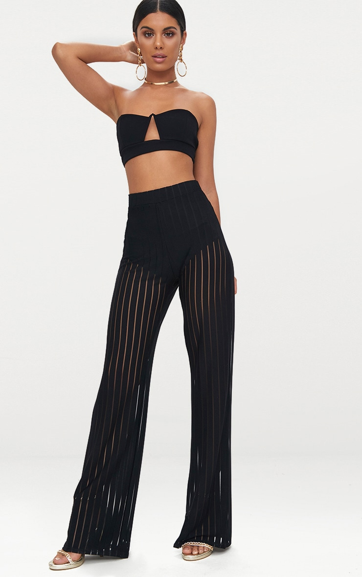 8abaf00bf0 Black Mesh Stripe High Waisted Wide Leg Trousers | PrettyLittleThing