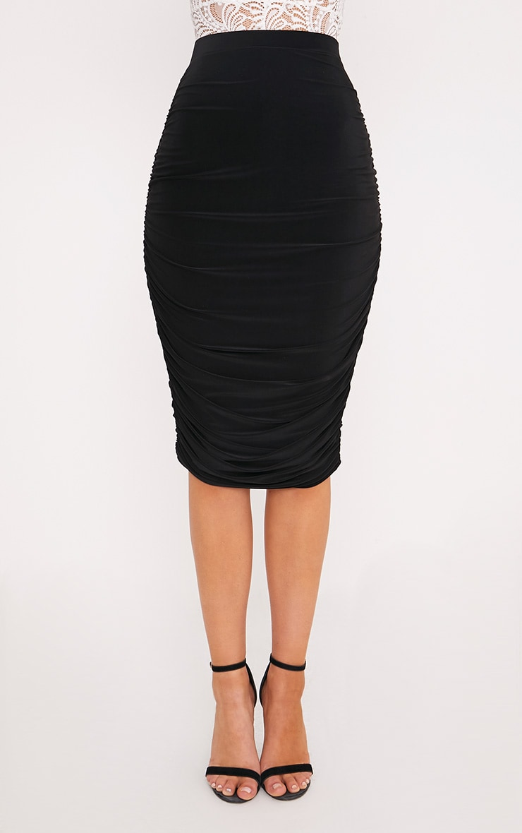 Shape Mila Black Ruched Side Midi Skirt  2