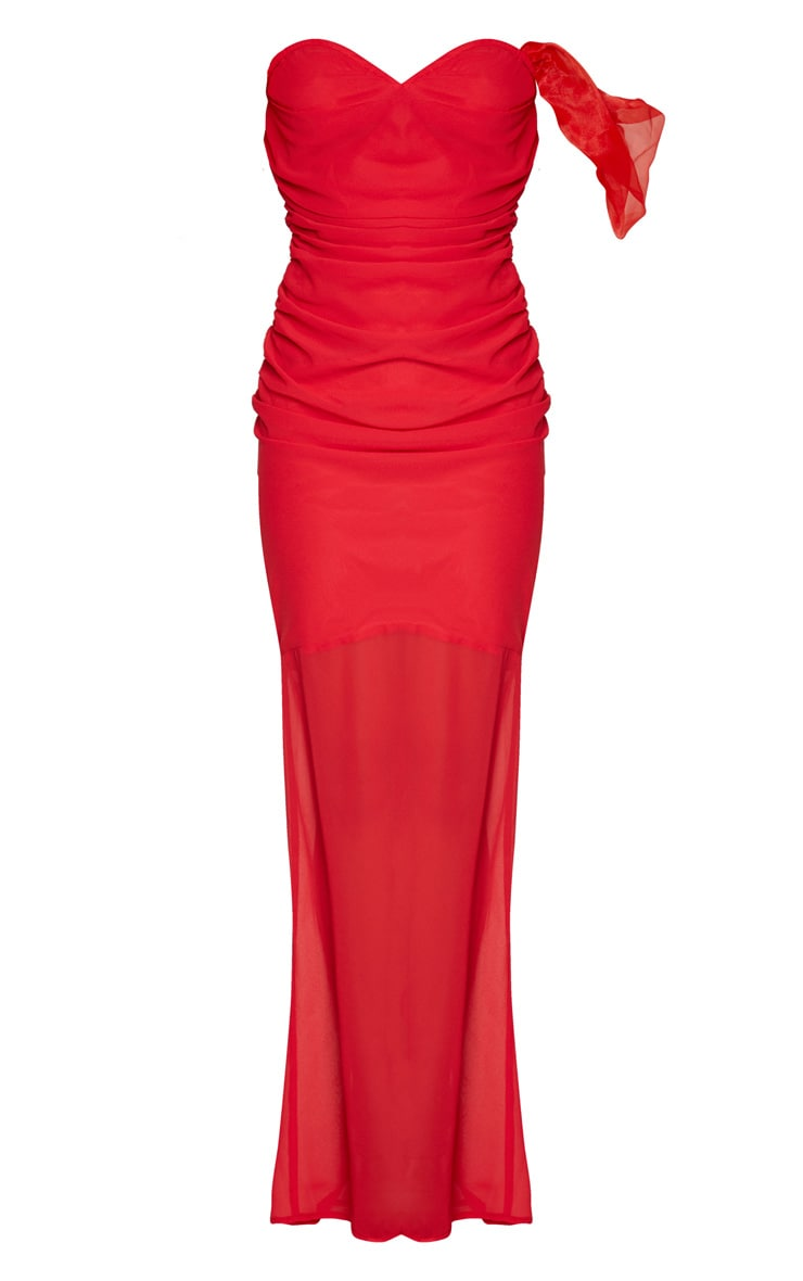Red Chiffon Ruched Detail One Sleeve Maxi Dress 5