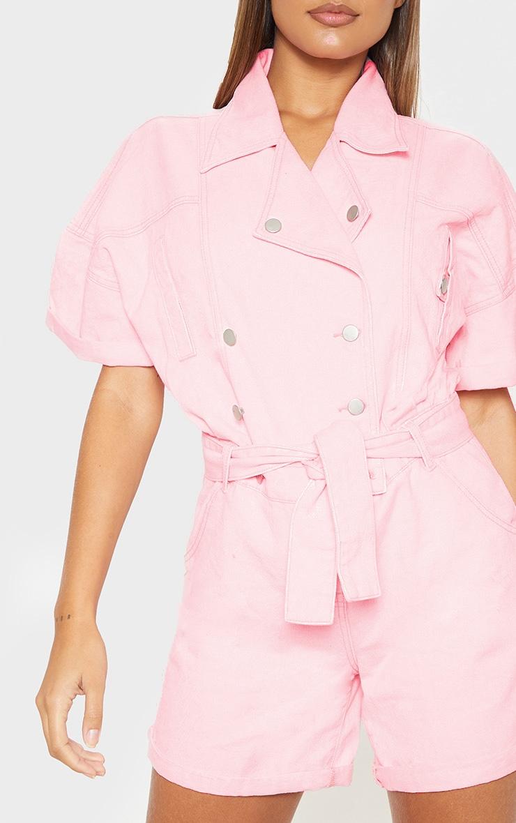 Pink Popper Detail Tie Waist Denim Romper  5