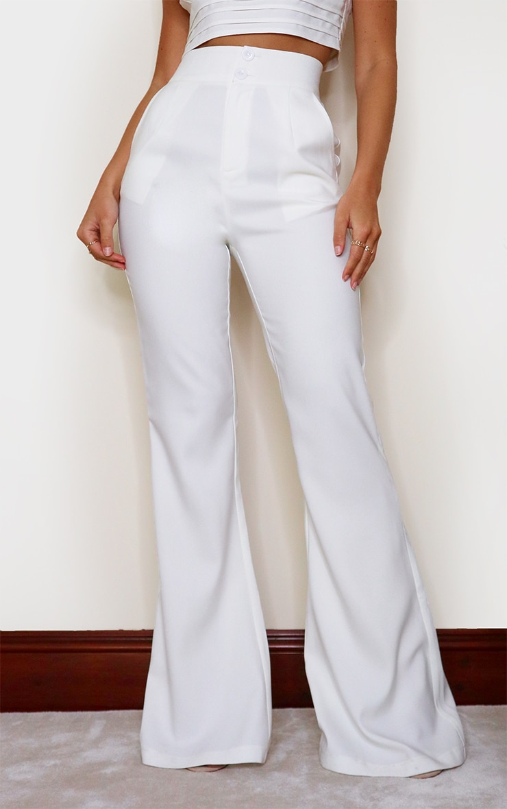 White High Waisted Double Button Waist Flare 2