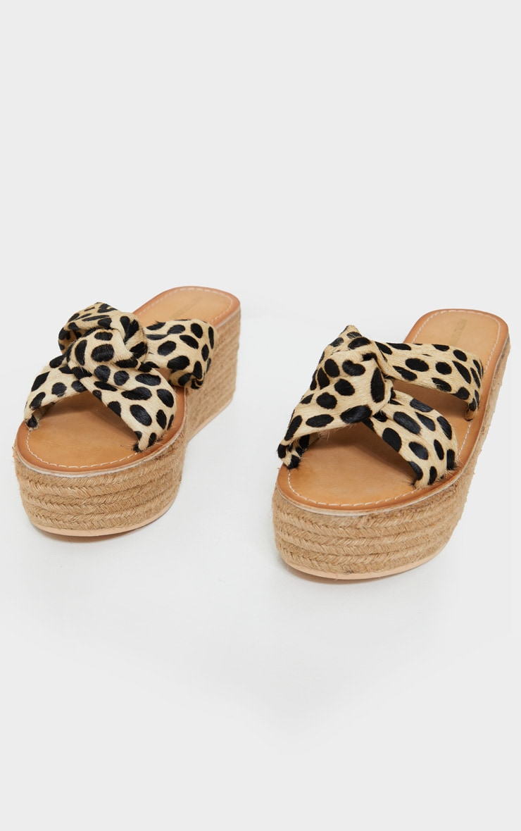 Natural Tiger Print Leather Espadrilles Wedges 3