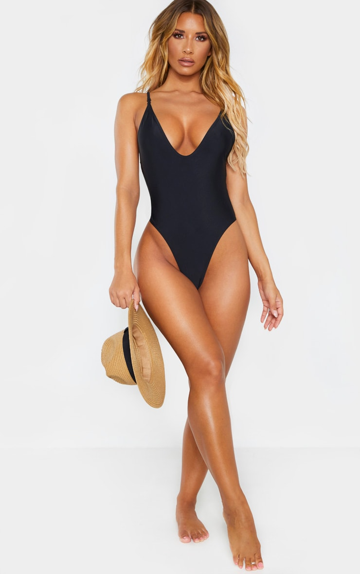 Black Basic Low Scoop Swimsuit 4