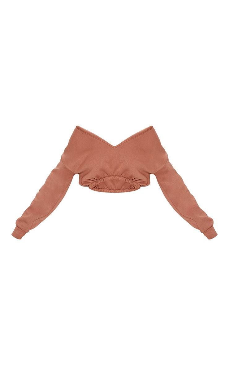Camel Crop Off Shoulder Sweater 5