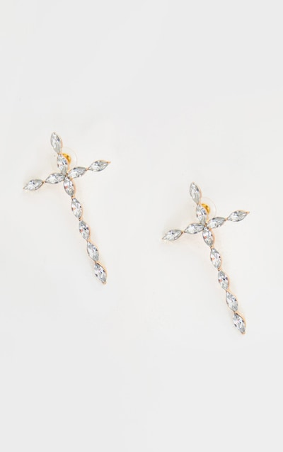 Gold Oversized Crystal Cross Stud Earring